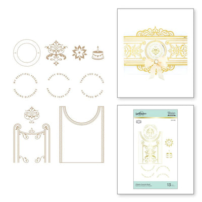 Spellbinders Glimmer Hot Foil Plate - Delicate Impressions by Becca Feeken - Filigree Crescent Band - GLP-239