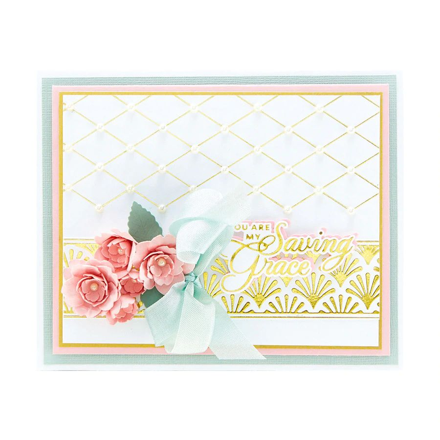 Spellbinders Glimmer Hot Foil Plate - Delicate Impressions by Becca Feeken - Diamonetta Background - GLP-240