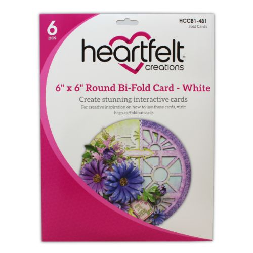 "Heartfelt Creations - 6"" x 6"" Round Bi-Fold Card - White - HCCB1-481"