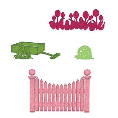 Heartfelt Creations - Tulip Cart & Fence Die - HCD1-7221