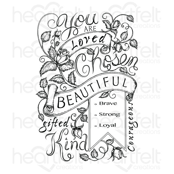Heartfelt Creations Stamp: Blushing Rose Background (HCPC-3757)