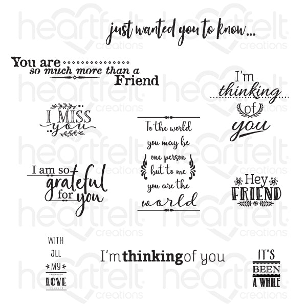 Heartfelt Creations: For My Friend Sentiments Cling Stamp Set (HCPC-3844)