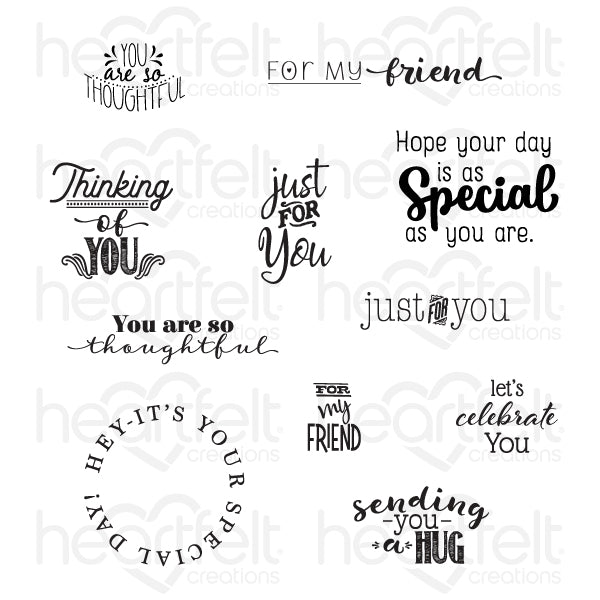 Heartfelt Creations: Just For You Sentiments Cling Stamp Set (HCPC-3845)
