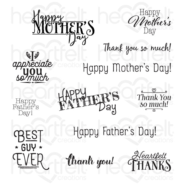 Heartfelt Creations: Thank You Sentiments Cling Stamp Set (HCPC-3846)