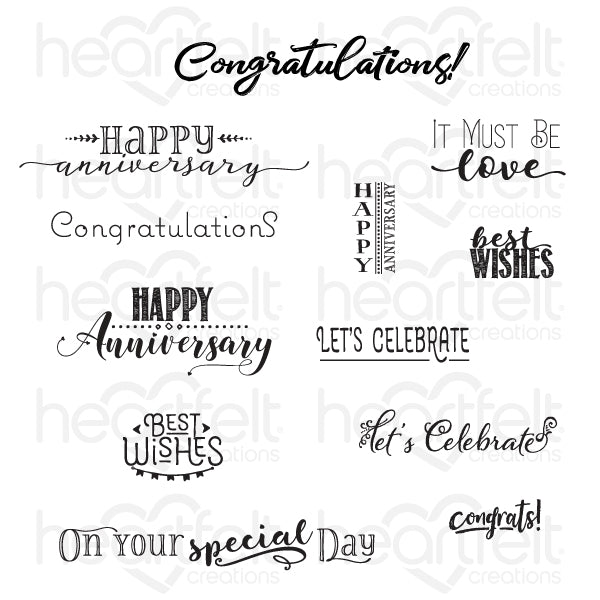 Heartfelt Creations: Celebrate Love Sentiments Cling Stamp Set (HCPC-3847)