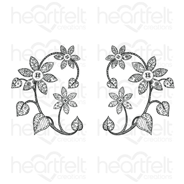Heartfelt Creations - Patchwork Daisy Cling Stamp Set (HCPC-3852)