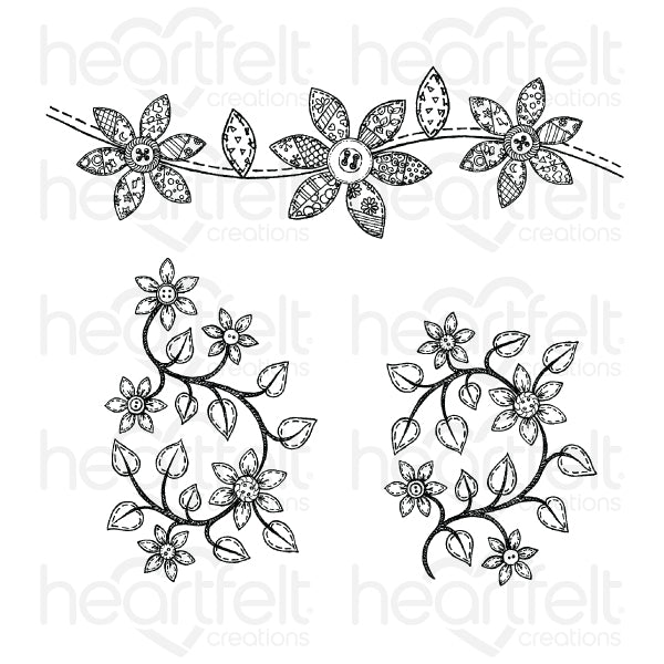 Heartfelt Creations - Patchwork Daisy Border Cling Stamp Set (HCPC-3853)