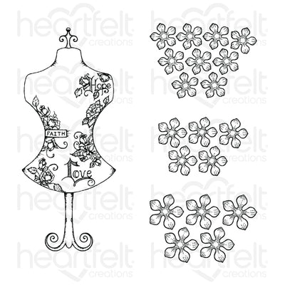 Heartfelt Creations - Floral Fashionista Cling Stamp Set - (HCPC-3855)