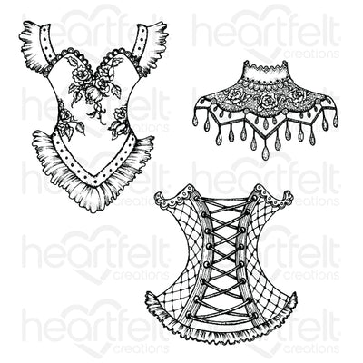 Heartfelt Creations - Floral Corset Cling Stamp Set - (HCPC-3856)