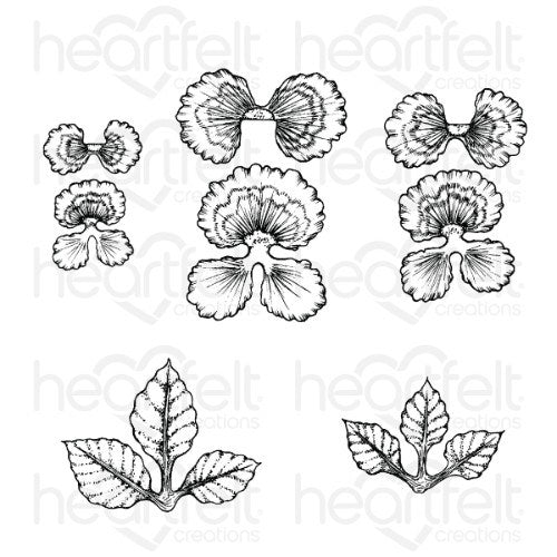 Heartfelt Creations - Cheery Pansy Cling Stamp Set - HCPC-3862