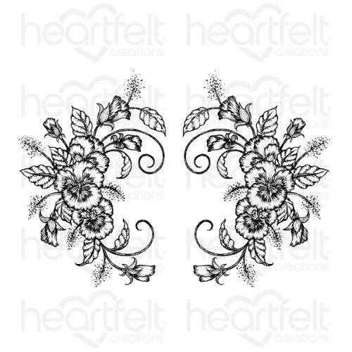 Heartfelt Creations - Delicate Pansy Spray Cling Stamp Set - HCPC-3864