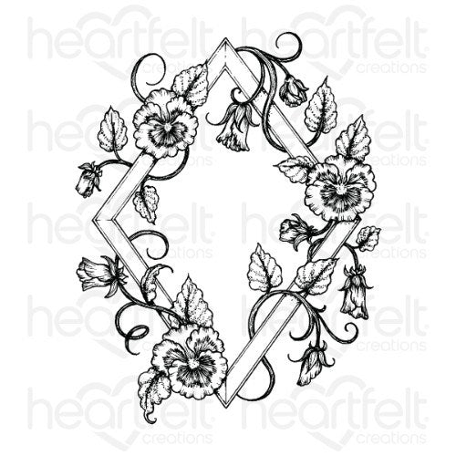 Heartfelt Creations - Petite Pansy Frame Cling Stamp Set - HCPC-3865