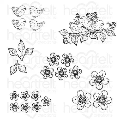 Heartfelt Creations - Tweet Cherry Blossoms Cling Stamp Set - HCPC-3866