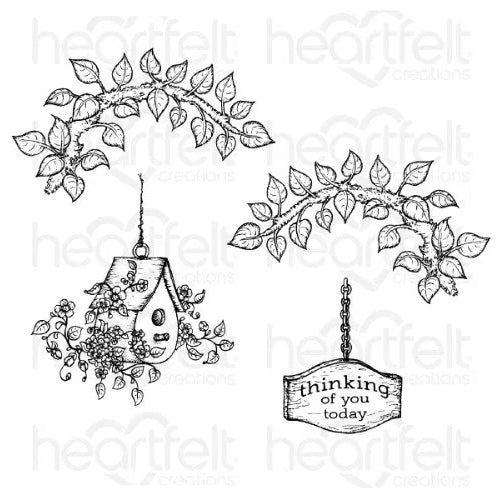 Heartfelt Creations - Cherry Blossom Retreat Cling Stamp Set - HCPC-3867
