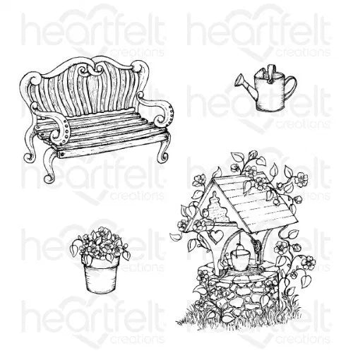 Heartfelt Creations - Wishing Well Oasis Cling Stamp Set - HCPC-3868