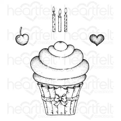 Heartfelt Creations - Sugarspun Cupcake Cling Stamp Set - HCPC-3870