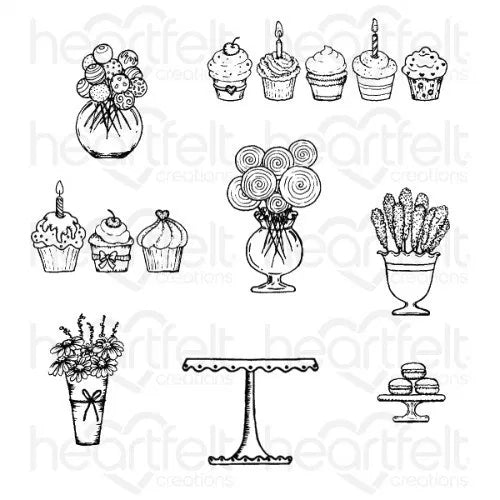 Heartfelt Creations - Sweet Shoppe Treats Cling Stamp Set - HCPC-3872