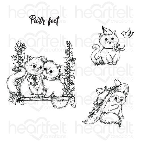 Heartfelt Creations - Purr-fect Playdate Cling Stamp Set - HCPC-3875