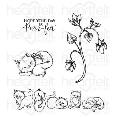 Heartfelt Creations - Purring and Playful Cling Stamp Set - HCPC-3876