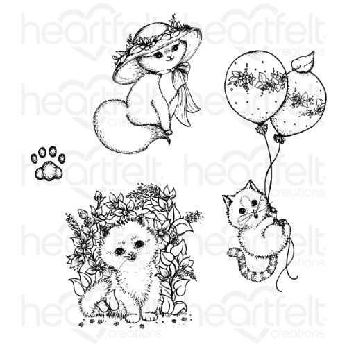 Heartfelt Creations - Playful Miss Kitty Cling Stamp Set - HCPC-3877