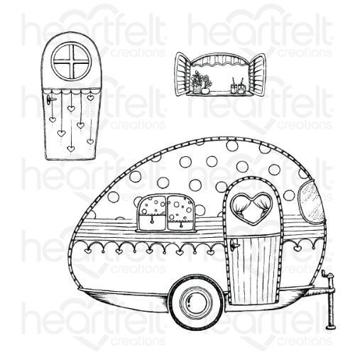 Heartfelt Creations - Happy Camper Cling Stamp Set - HCPC-3878