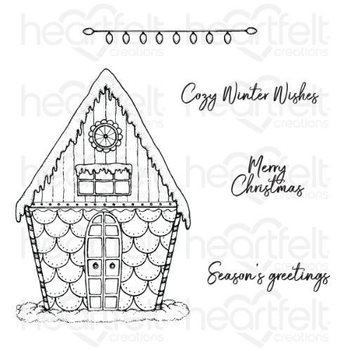 Heartfelt Creations - Candy Cane Cottage Cling Stamp Set - HCPC-3884
