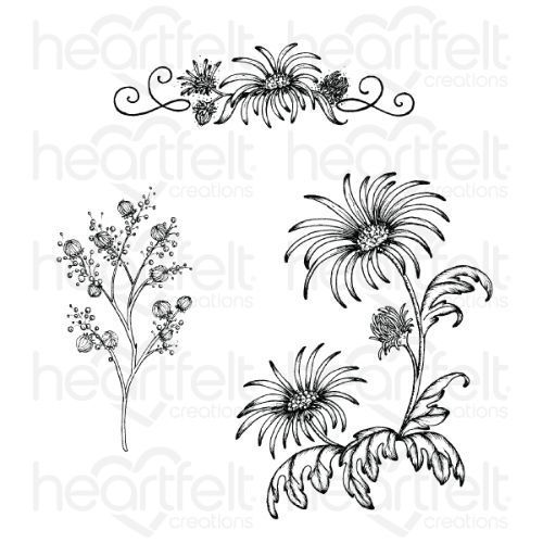 Heartfelt Creations - Wild Aster Spray Cling Stamp Set - HCPC-3888
