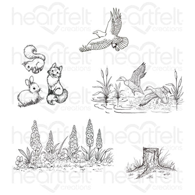 Heartfelt Creations - Create a 'scape Nature Cling Stamp Set - HCPC-3896