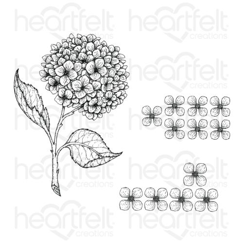 Heartfelt Creations - Cottage Garden Hydrangea Cling Stamp Set - HCPC-3900