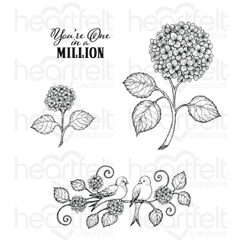 Heartfelt Creations - Fresh Cut Hydrangea Cling Stamp Set - HCPC-3901