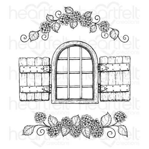 Heartfelt Creations - Cottage Window & Hydrangea Cling Stamp Set - HCPC-3902