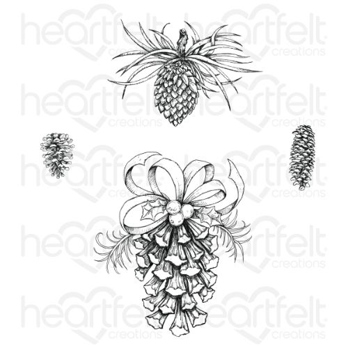 Heartfelt Creations - Festive Pine Cones Cling Stamp Set - HCPC-3917
