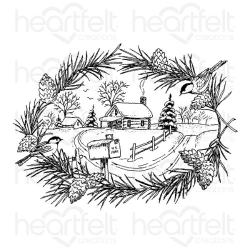Heartfelt Creations - Snowy Pines Cabin Cling Stamp Set - HCPC-3919