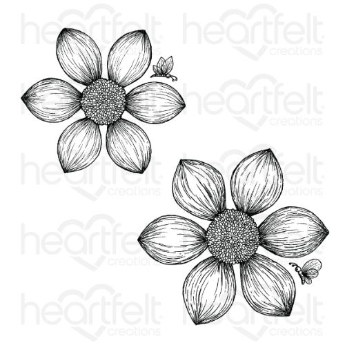 Heartfelt Creations – Dazzling Dahlia Cling Stamp Set