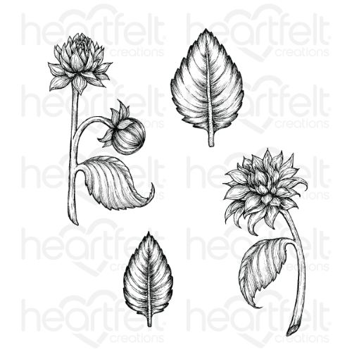 Heartfelt Creations – Dazzling Dahlia and Leaves Cling Stamp Set - HCPC-3929