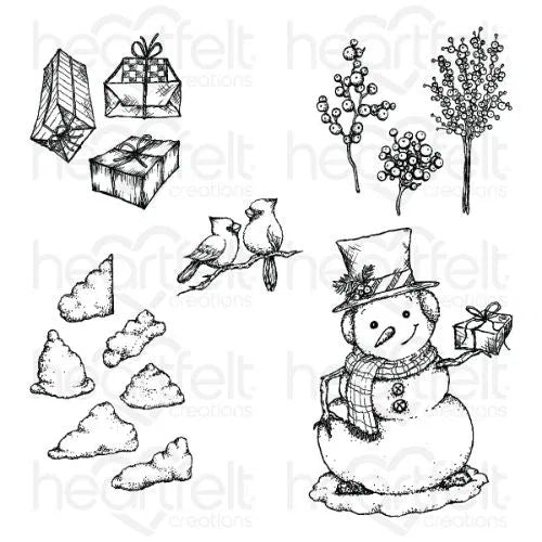 Heartfelt Creations - Countryside Winter 'scapes Stamp Set - HCPC-3942