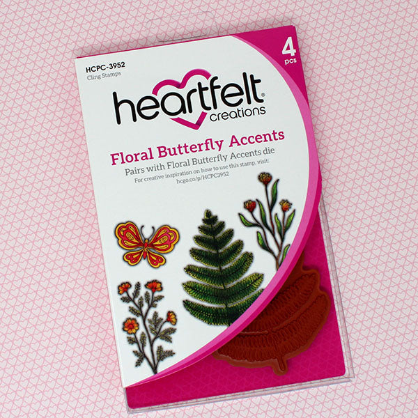Heartfelt Creations - Floral Butterfly Accents Cling Stamp Set - HCPC-3952