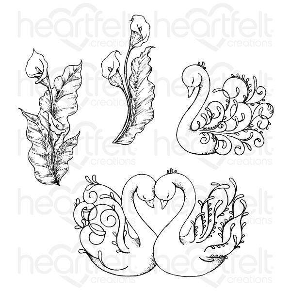 Heartfelt Creations - Feathery Swan Cling Stamp Set - HCPC-3898