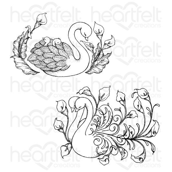 Heartfelt Creations - Swan Lake Cling Stamp Set - HCPC-3899