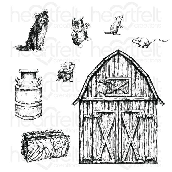 Heartfelt Creations - Home On The Farm Cling Stamp Set - HCPC-3925