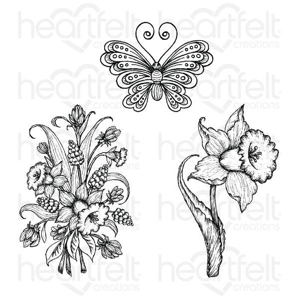 Heartfelt Creations - Delightful Daffodil & Butterfly Cling Stamp Set - HCPC-3943