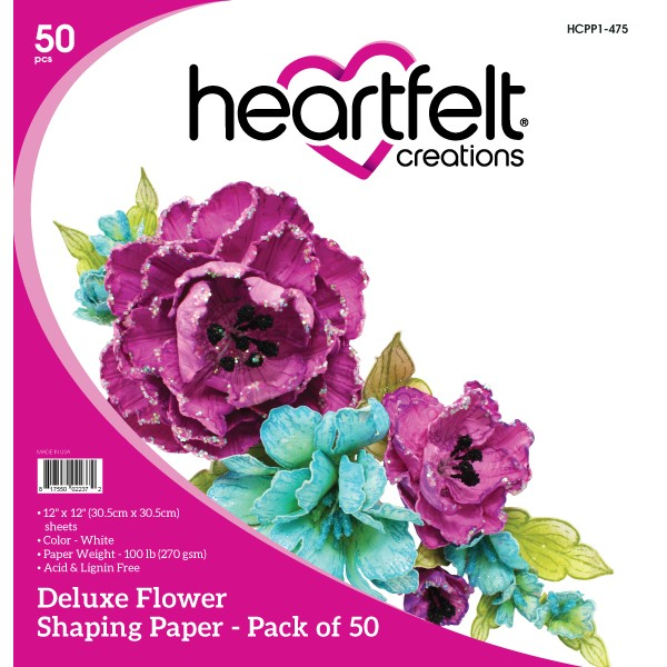 Heartfelt Creations - Deluxe Flower Shaping Paper Pack of 50 - White - HCPP1-475