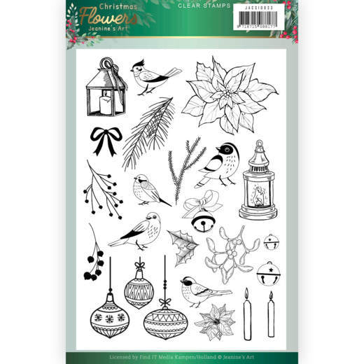 Jeanine's Art Christmas Flowers Clear Stamp
