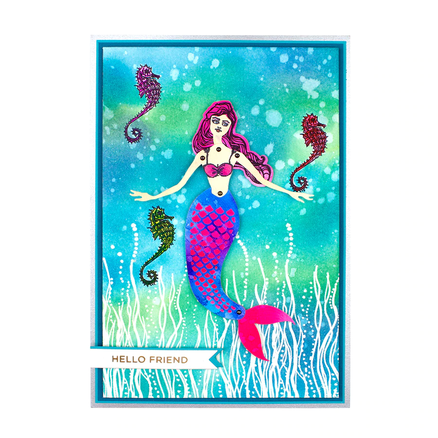 Cutting Dies and Brads Jane Davenport Interactive Mermaid Paper Doll Clear Stamps