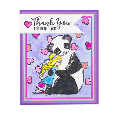 Jane Davenport Spellbinders Stamps - Whimsical and Wild Collection - Panda Thank You - JDS-047