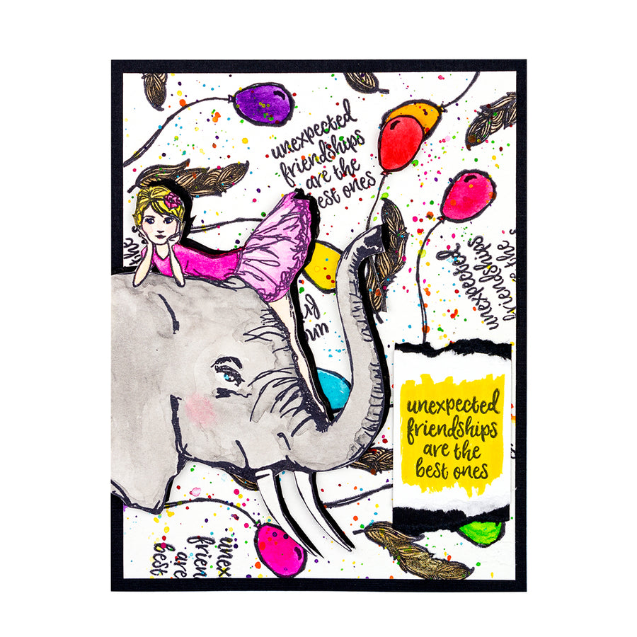 Jane Davenport Spellbinders Stamps - Whimsical and Wild Collection - Elephant Dream - JDS-051