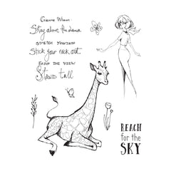 Spellbinders JDS-053 Giraffe Wisdom Clear Whimsical and Wild Collection by Jane Davenport Stamp Set