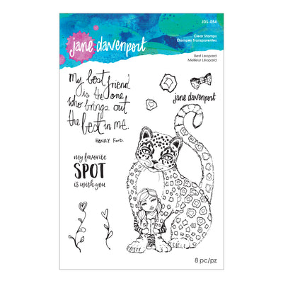 Jane Davenport Spellbinders Stamps - Whimsical and Wild Collection - Best Leopard - JDS-054