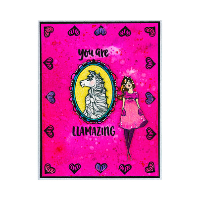 Jane Davenport Spellbinders Stamps - Whimsical and Wild Collection - Llama Drama - JDS-055