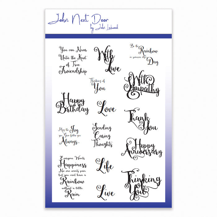 John Next Door Clear Stamp - Swirl Sentiments - JND074